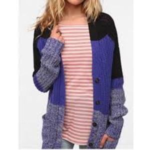 BDG color block purple chunky knit sweater button